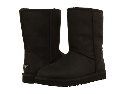 UGG - Classic Short Leather (Black) Women's Cold Weather Boots