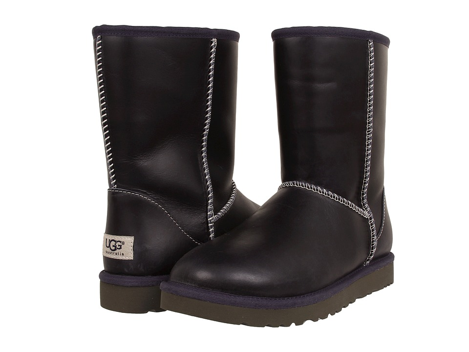 UGG - Classic Short Leather (Peacoat) Women's Cold Weather Boots