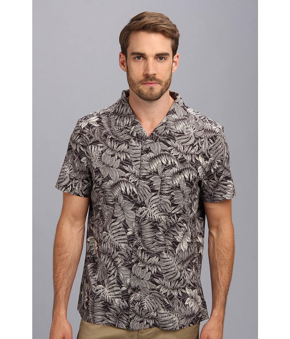 Andrew Marc x Richard Chai - Camo Palm S/S Casual Shirt (Black/White) Men's Clothing