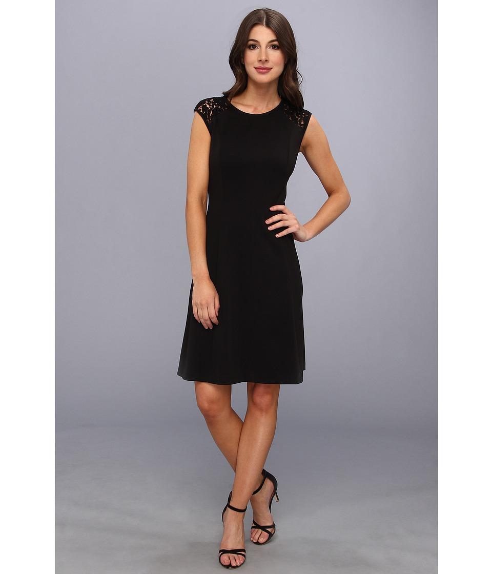 Calvin Klein Ponte Cap Sleeve Dress w/ Lace Womens Dress (Black)