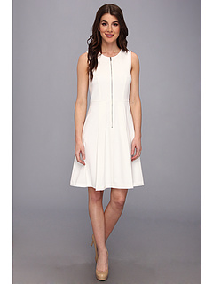 SALE! $69.99 - Save $60 on Calvin Klein Lux Stretch Zip Front Fit Flare Dress (Birch) Apparel - 45.95% OFF $129.50