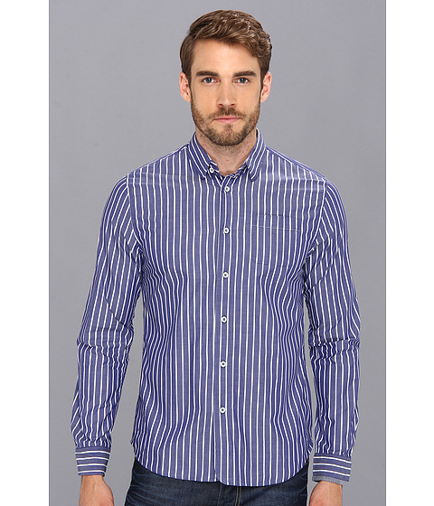 Descendant Of Thieves - Awning Stripe L/S Woven (Navy/Thin Navy) Men's Long Sleeve Button Up