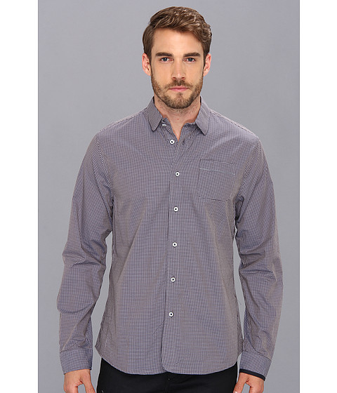 Descendant Of Thieves - Two-Tone Ginham L/S Woven (Navy Two Tone) Men's Long Sleeve Button Up