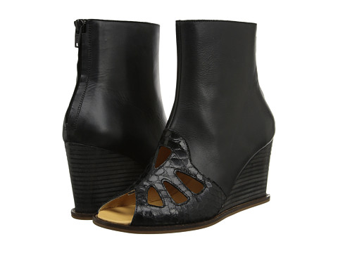 MM6 Maison Margiela - Peep-Toe Leather Boots (Black/Black/Black) Women's Wedge Shoes