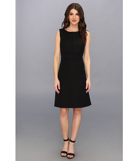 Calvin Klein - Jacquard Textured Dress (Black) Women's Dress