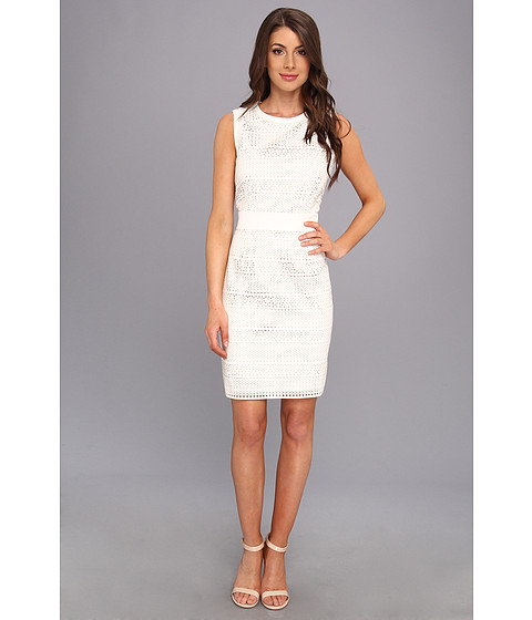 0e1ebc5587e7c3 UPC 885719216726 product image for Calvin Klein Faux Leather Perforated  Dress (Ivory) Women's Dress
