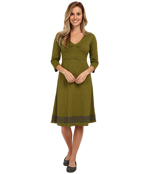 Toad&Co - Rosalinda Dress (Avocado Border Print) Women's Dress