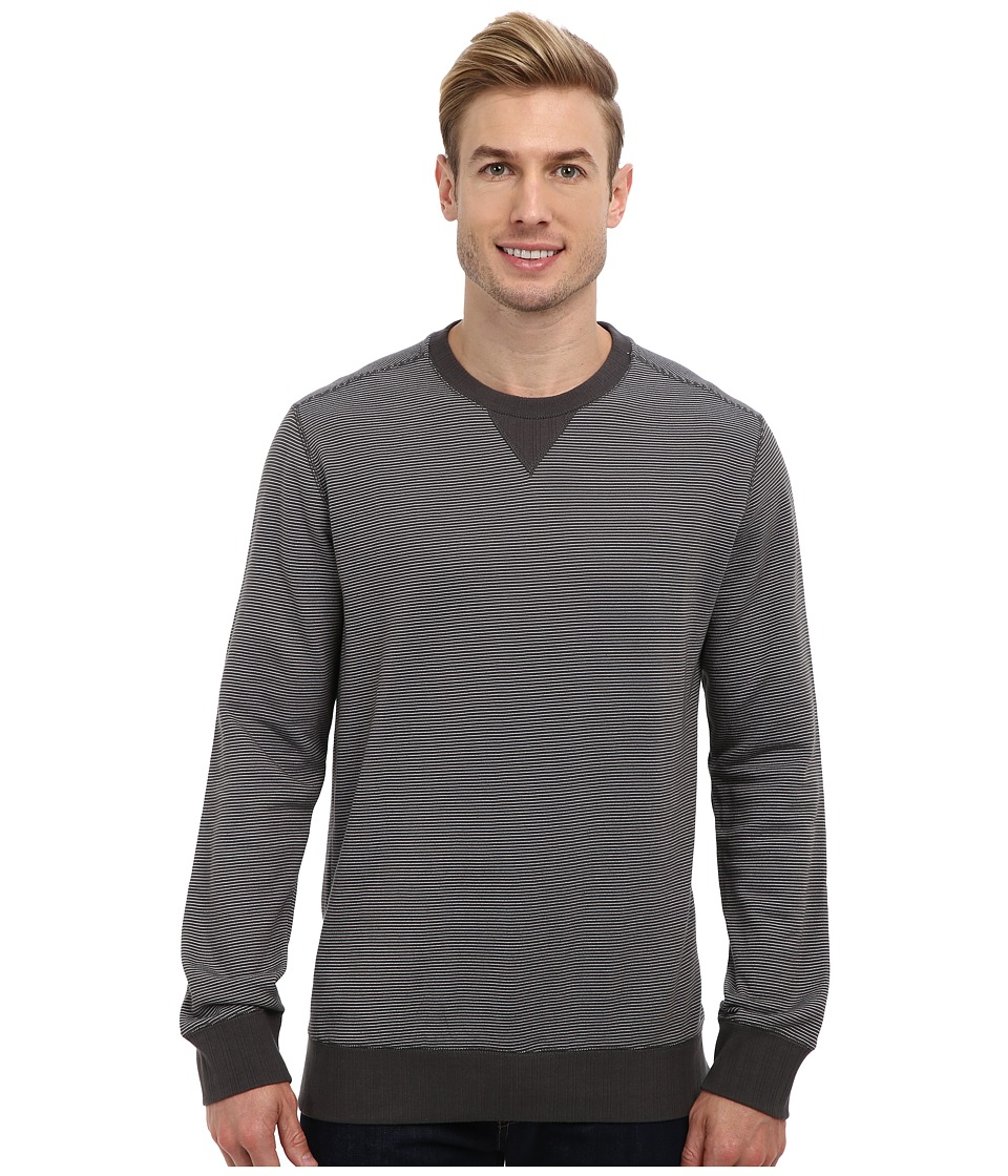 Toad&Co - Bandwidth Crew Long Sleeve Pullover (Dark Graphite/Egret) Men