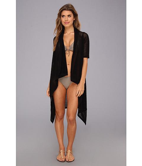 Echo Design - Open Stitch Short Sleeve Cardi (Black) Women's Swimwear