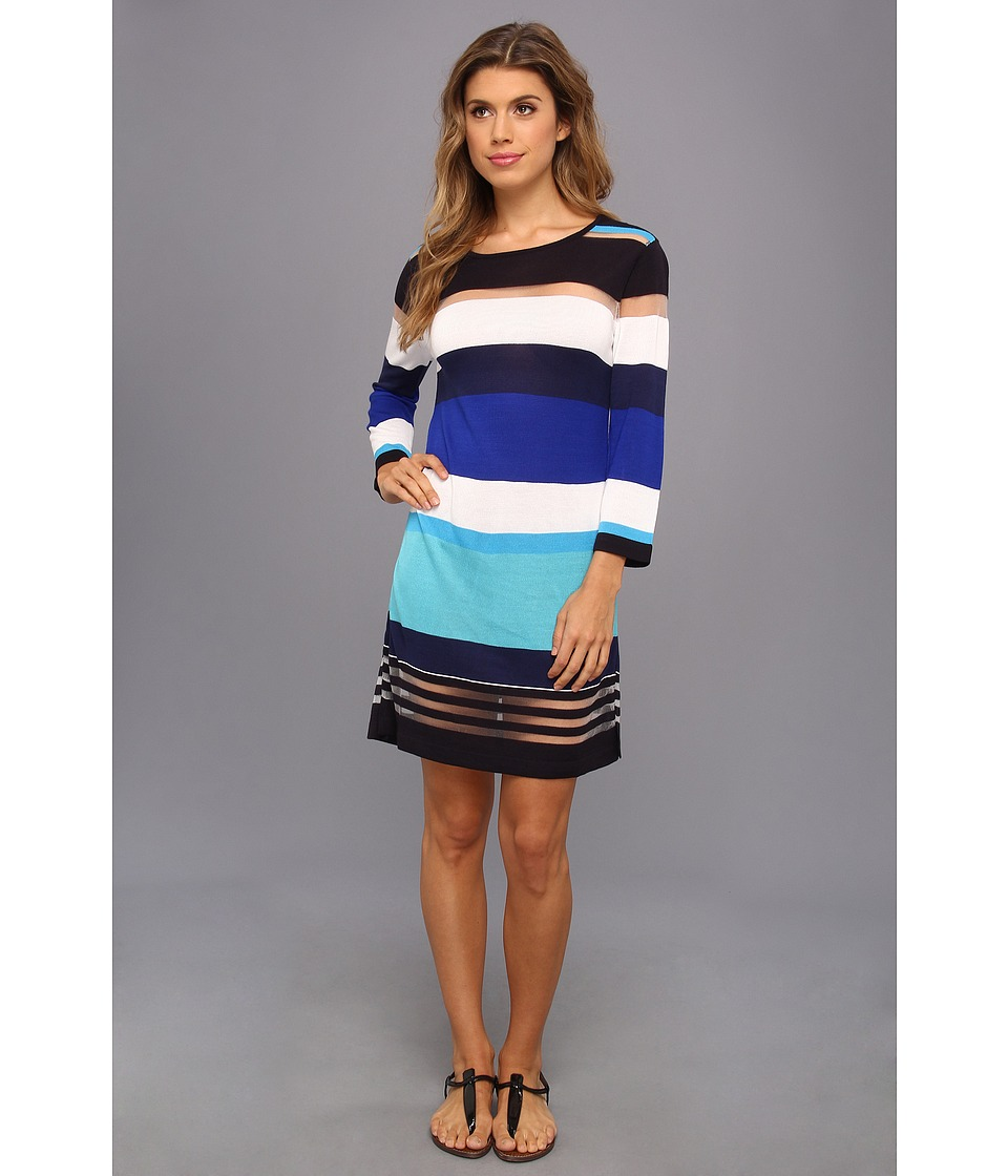 Echo Design - Bold Stripes Tunic (Bright Turquoise) Women's Swimwear