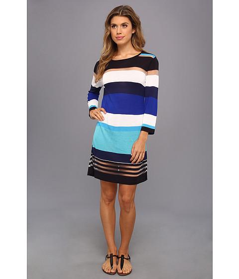Echo Design - Bold Stripes Tunic (Bright Turquoise) Women
