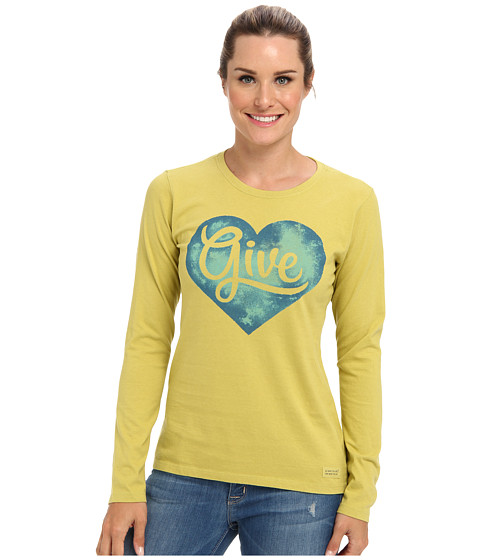 Life is good - Give Heart Crusher L/S Tee (Retro Green) Women's Long Sleeve Pullover