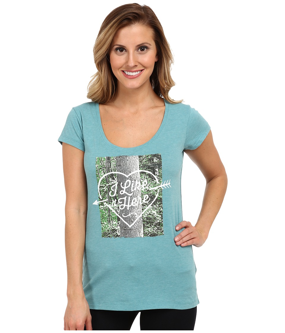 Life is good - Top Notch Scoop Neck Tee (Turquoise Blue) Women