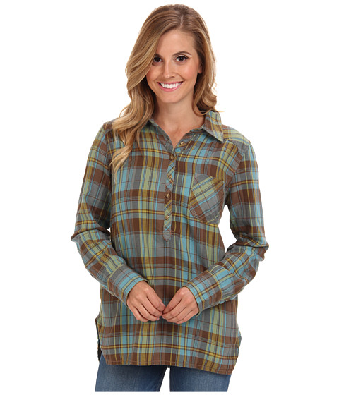 Life is good - L/S Plaid Popover (Turquoise Blue) Women's Long Sleeve Button Up