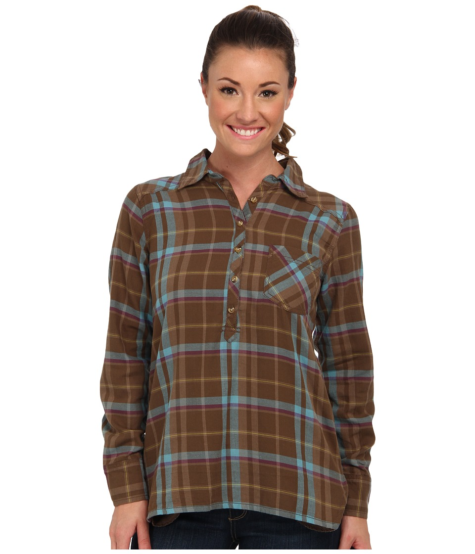 Life is good - L/S Plaid Popover (Suede Brown) Women's Long Sleeve Button Up