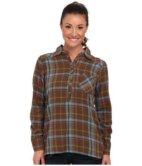Life is good - L/S Plaid Popover (Suede Brown) Women