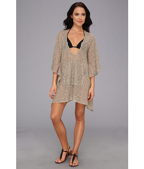 Echo Design - Metallic Boucle Kangaroo Poncho Cover-Up (Khaki) Women's Swimwear