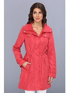 SALE! $74.99 - Save $155 on Ellen Tracy Snap Front Utilitarian Anorak (Hibiscus) Apparel - 67.40% OFF $230.00