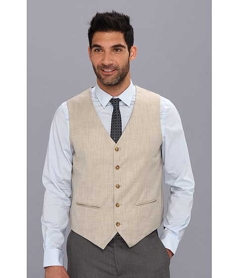 Perry Ellis - Textured Suit Vest (Natural Linen) Men