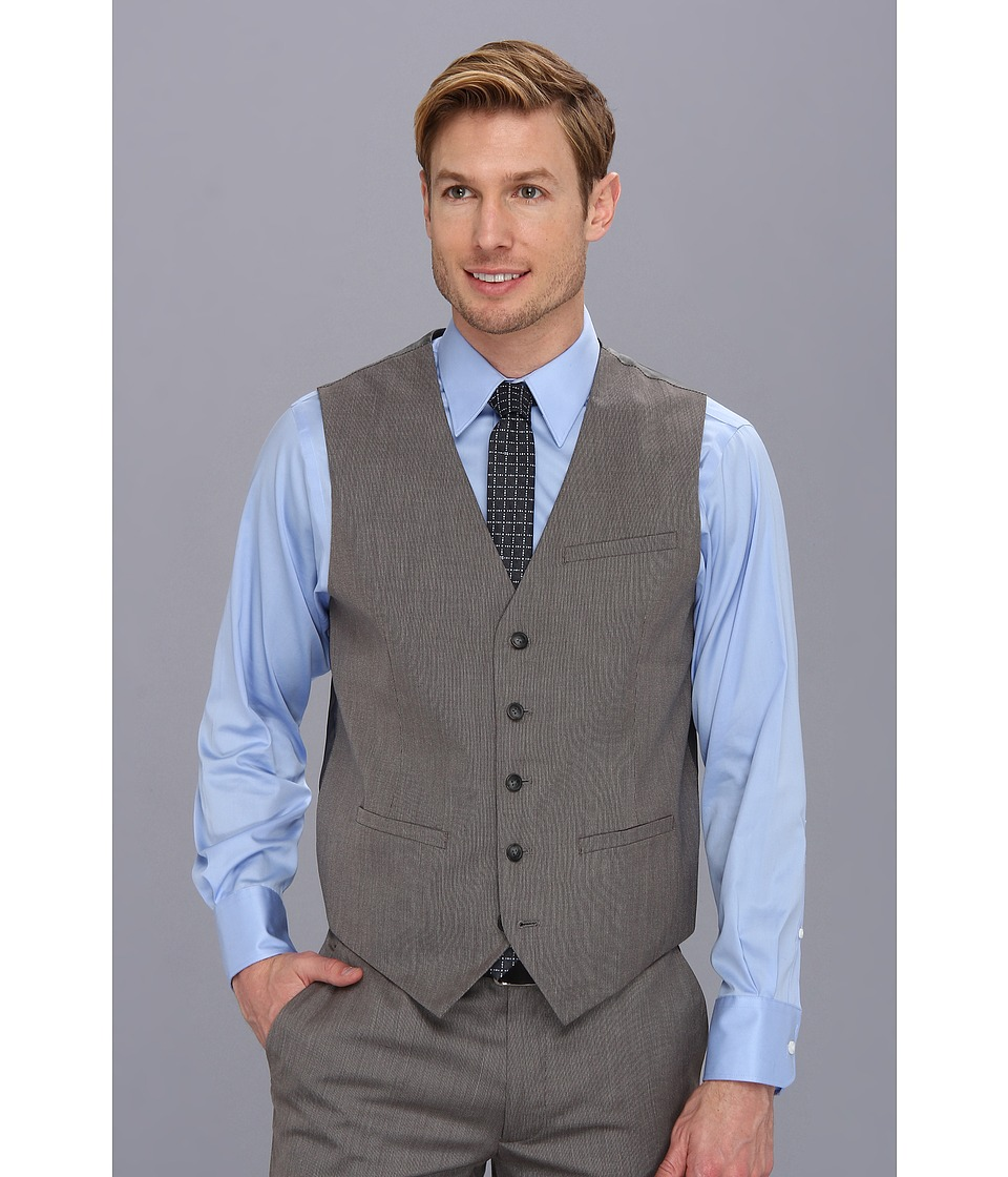 Perry Ellis - Textured Solid Suit Vest (Charcoal) Men's Vest