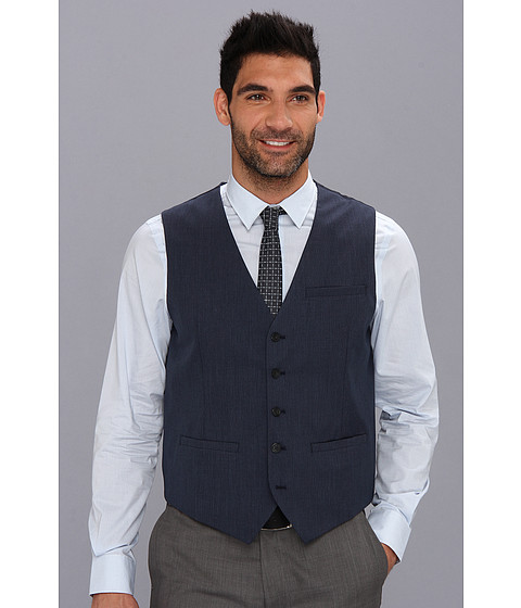 Perry Ellis - Textured Solid Suit Vest (Navy) Men