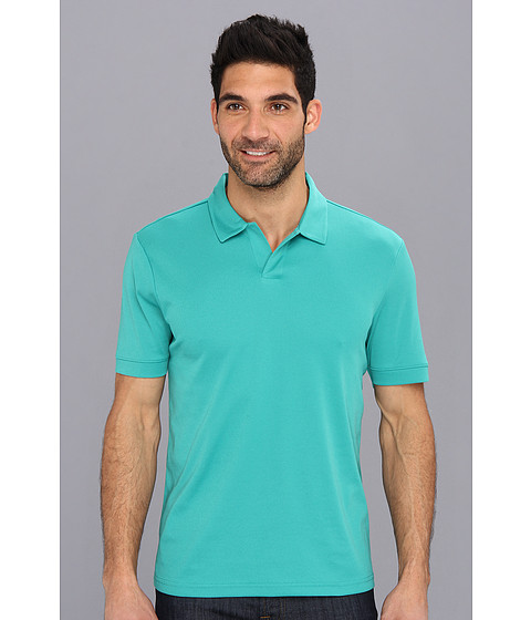 Perry Ellis - S/S Cotton Polyester Open Polo (Porcelain Green) Men