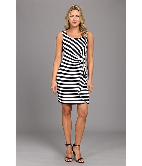 Calvin Klein - Striped Tayon Ruffle CD4N25X9 (Black/White) Women's Dress