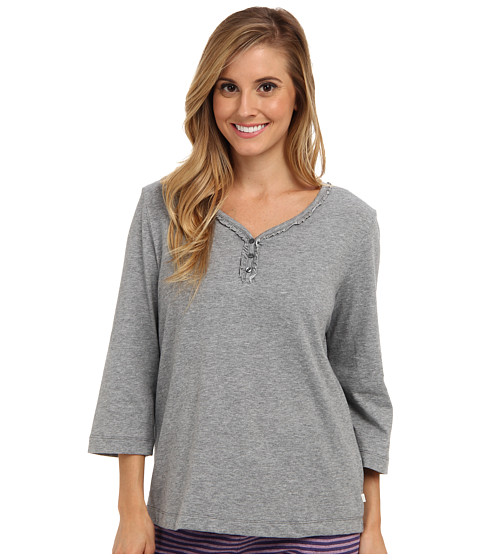 Karen Neuburger - Quartet knCool 3/4 Sleeve Henley Top (Solid/Soft Charcoal) Women's Pajama