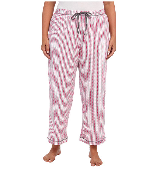 Karen Neuburger - Plus Size Quartet knCool Long Pajama Pant (Fancy Stripe/Claret) Women