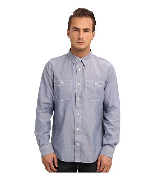 Jack Spade - Cormac Chambray Work Shirt (Blue) Men's Long Sleeve Button Up