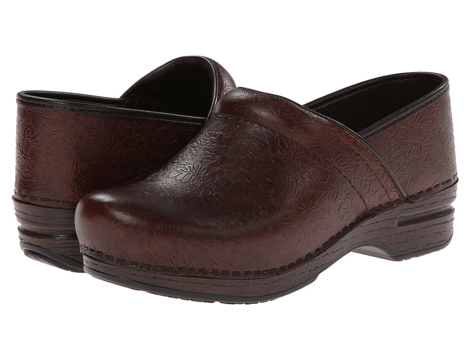 Dansko - Pro XP (Brown Floral Tooled) Women's Clog Shoes
