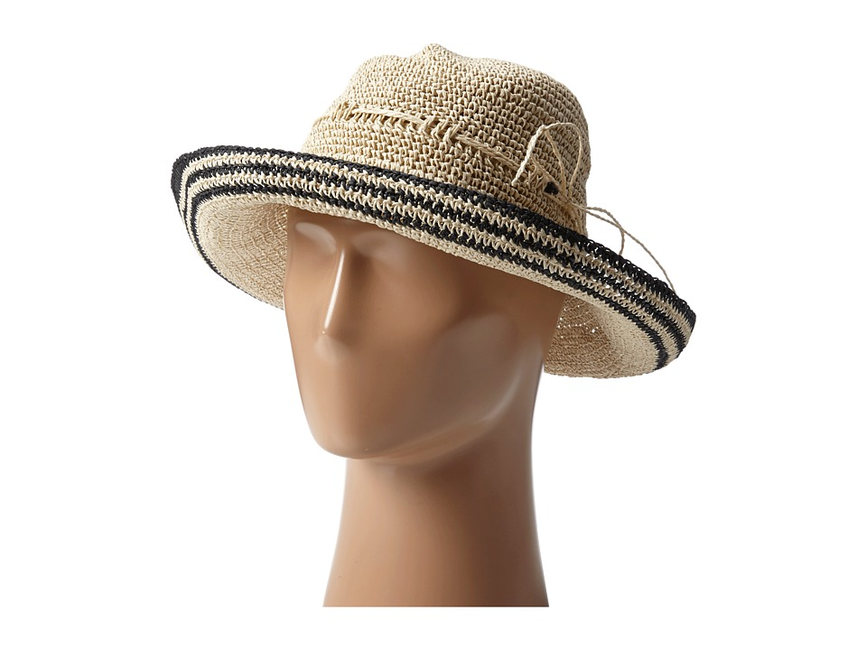 Echo Design - Paper Straw Mid-Brim Hat w/Bead (Natural/Black) Traditional Hats