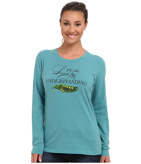 Life is good - Creamy L/S Tee (Turquoise Blue) Women's Long Sleeve Pullover