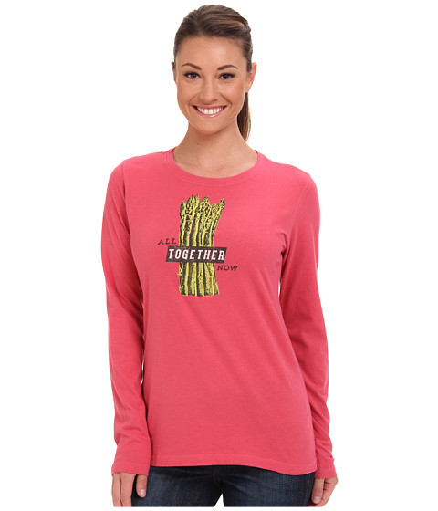 Life is good - Creamy L/S Tee (Azalea Pink) Women's Long Sleeve Pullover