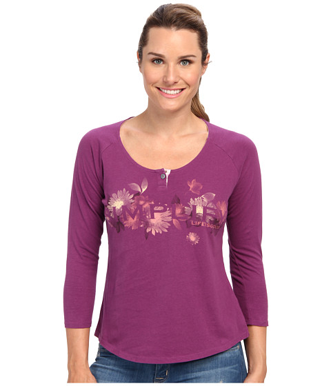 Life is good - Creamy 3/4 Sleeve Shirttail (Perfect Plum) Women's Long Sleeve Pullover