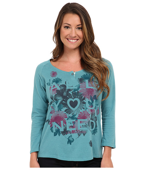 Life is good - Creamy 3/4 Sleeve Shirttail (Turquoise Blue) Women's Long Sleeve Pullover