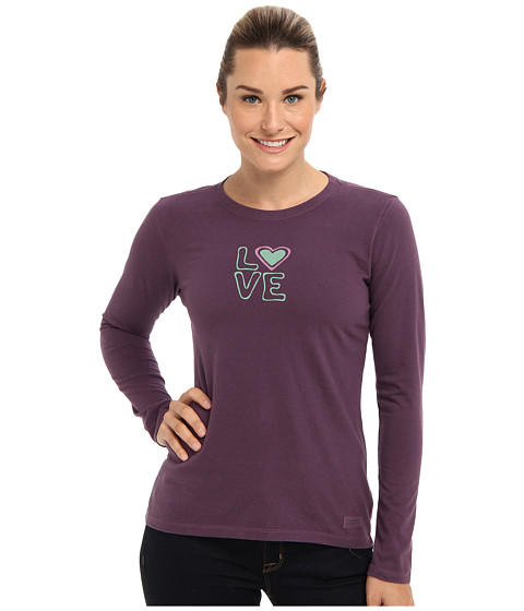 Life is good - Heart Love Crusher L/S Tee (Deepest Plum) Women's T Shirt