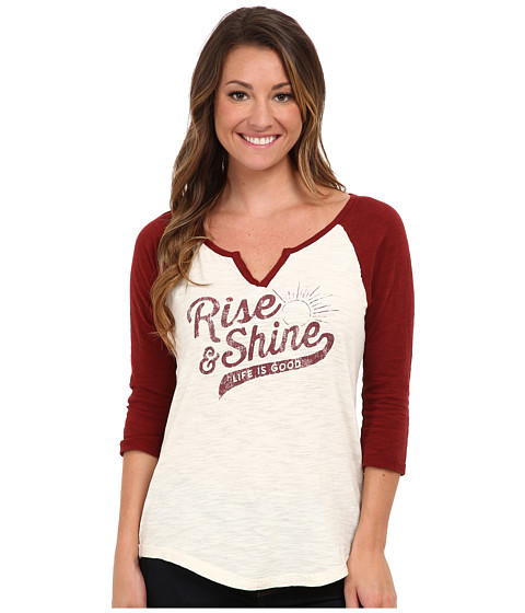 Life is good - Baseball Sleep Tee (Simply Ivory/Fresh Cranberry) Women