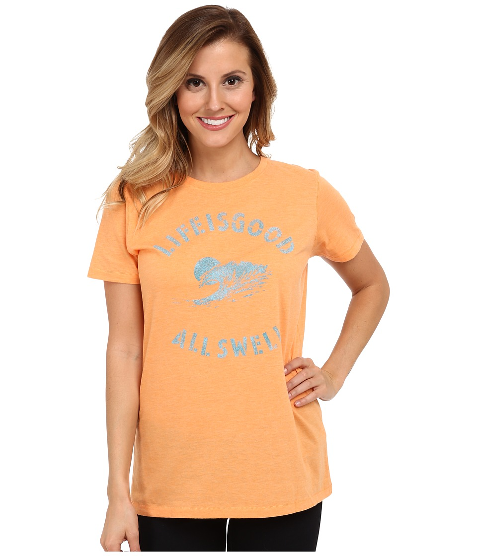 Life is good - Cool Tee (Washed Orange) Women's Short Sleeve Pullover