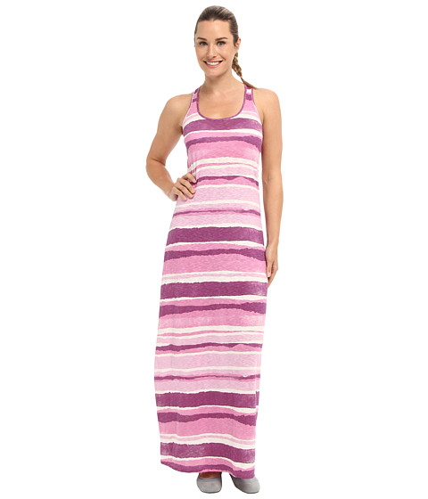 Life is good - Racerback Maxi Dress (Plum Stripe) Women's Dress