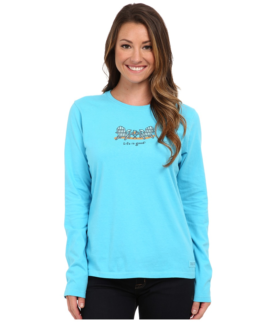 Life is good - Beach Crusher Long Sleeve (Summer Chairs/Summer Turquoise) Women's Long Sleeve Pullover