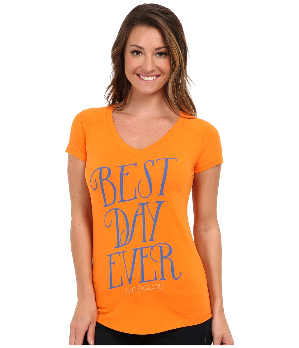 Life is Good Positive State of Mind Tech V-Neck Tee (Zesty Orange) Women