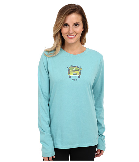 Life is good - Outdoor Long-Sleeve Crusher Tee (All In Ski/Turquoise Blue) Women's Long Sleeve Pullover