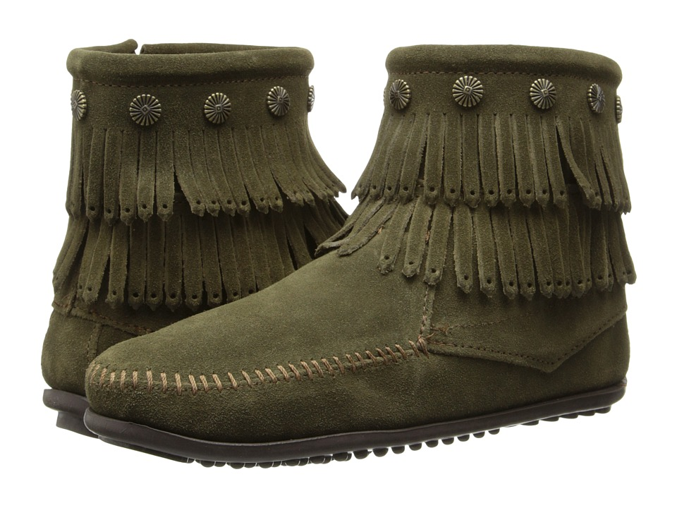 Minnetonka - Double Fringe Side Zip (Loden Suede) Women's Shoes