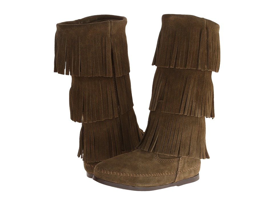 Minnetonka - 3 Layer Fringe Boot (Loden Suede) Women