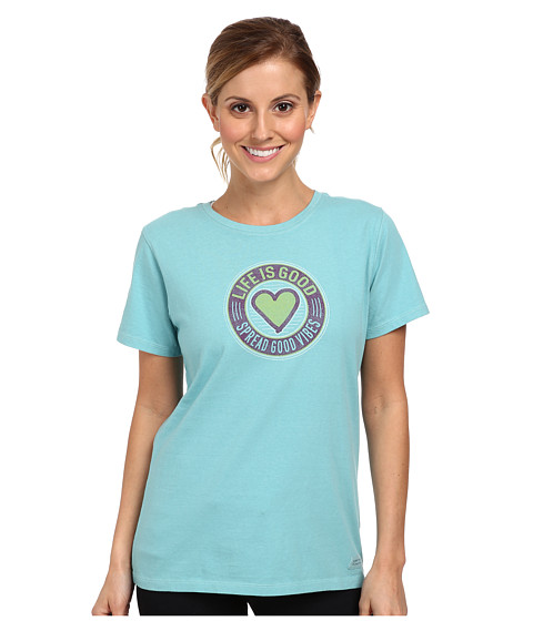 Life is good - Home Slice Crusher Tee (Heritage Good Vibes Heart/Turquoise Blue) Women's T Shirt