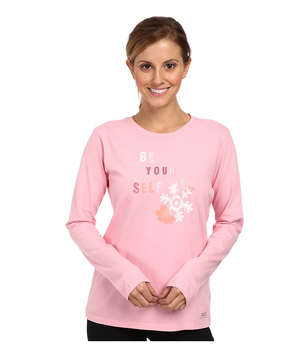 Life is good - Home Slice Crusher Long Sleeve (Snowflake Stencil/Blush Pink) Women's Long Sleeve Pullover