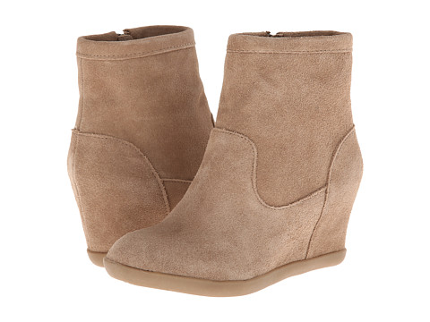 Minnetonka - Side Zip Hidden Wedge (Taupe Suede) Women