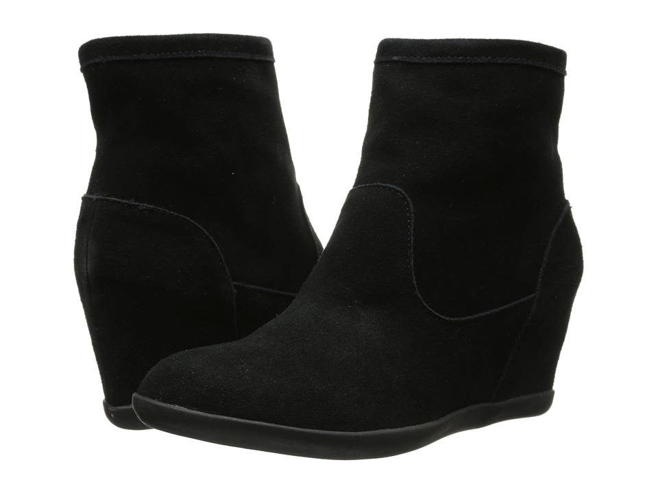 Minnetonka - Side Zip Hidden Wedge (Black Suede) Women's Boots