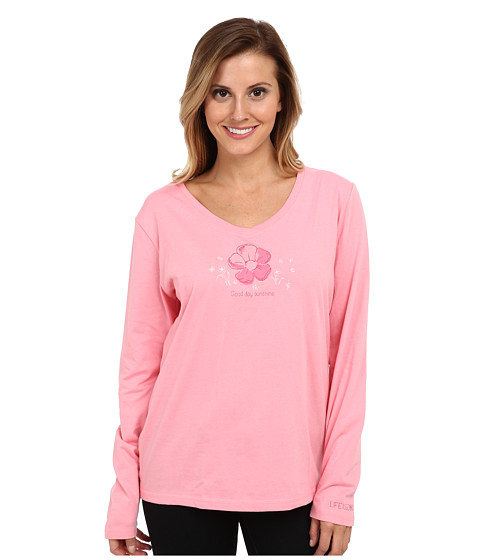 Life is good - Easy V-Neck Sleep L/S (Blush Pink) Women's Pajama